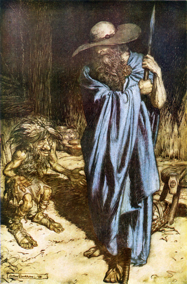 The Wanderer, Arthur Rackham, illustration to Wagner's The Ring of the Nibelung