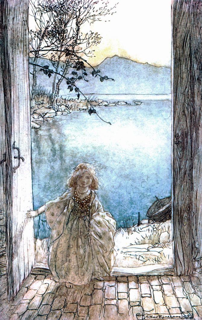 A beautiful girl stood in the doorway, Arthur Rackham, Undine