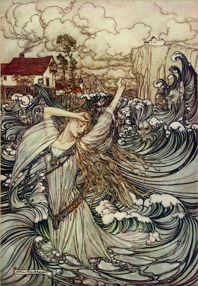 Lost in the Danube. Arthur Rackham, Undine