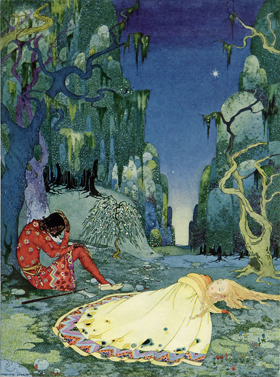 Violette consented willingly to spend the night in the forest, Virginia Frances Sterrett