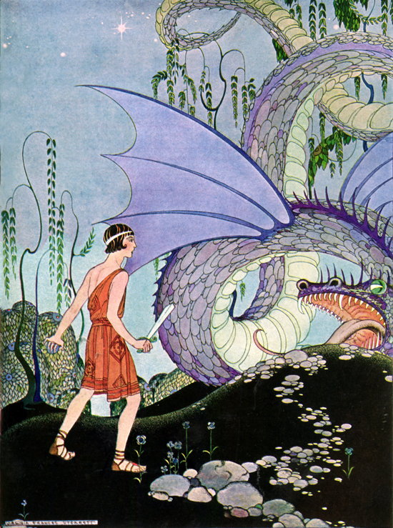 Cadmus prepares to slay the pitiless reptile who had killed his poor companions, Virginia Frances Sterrett